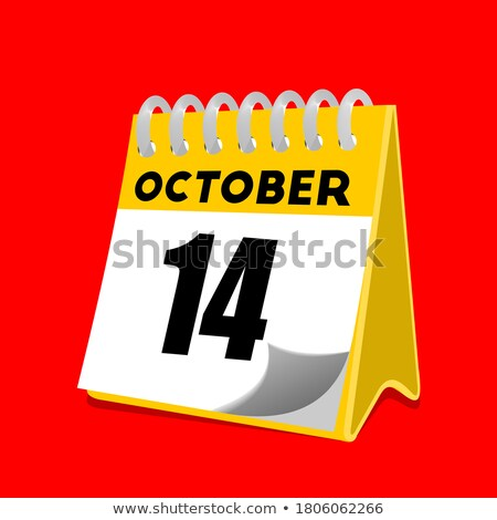 Simple black calendar icon with 14 october date isolated on white Stock photo © evgeny89