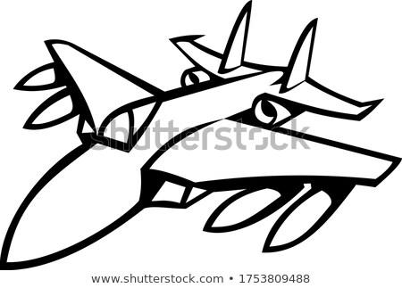Amerikaanse vechter jet vol vlucht zwart wit Stockfoto © patrimonio