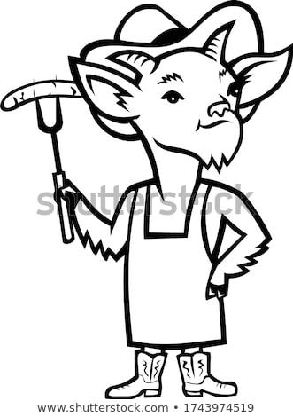 Cowboy Billy Goat Barbecue Chef Mascot Black and White Stock photo © patrimonio