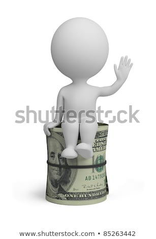 Stok fotoğraf: 3d Small People - Roll Dollars