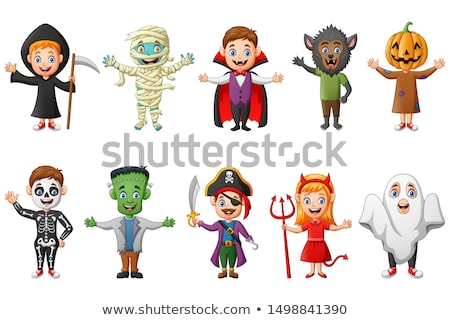 Stock photo: Vector characters for Halloween, vampire and zombie girl