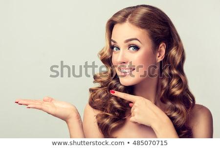 animado · mulher · de · negócios · indicação · produto · branco · negócio - foto stock © ashumskiy