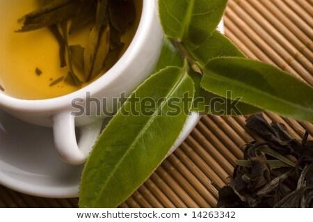 カップ · 緑茶 · 葉 · 水 · ドリンク · 茶 - ストックフォト © joannawnuk