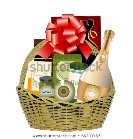 Noel · sepet · örnek · şarap · hediyeler · top - stok fotoğraf © aispl