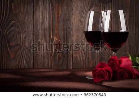 verre · vin · rouge · romantique · coeurs · vacances · vecteur - photo stock © aispl
