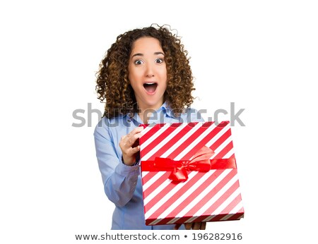 closeup portrait of a young woman with boxes isolated on white stock photo © hasloo