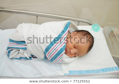 newborn baby sleeping peacefully wrapped in blanket stock photo © williv