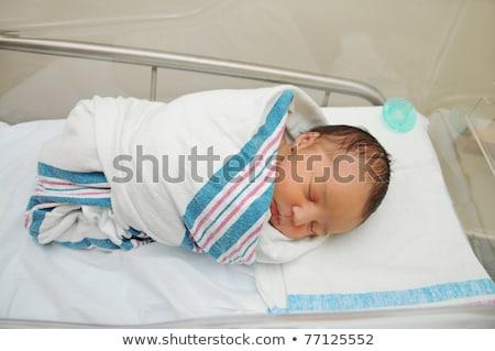 Recém-nascido bebê adormecido cobertor retrato cara Foto stock © williv
