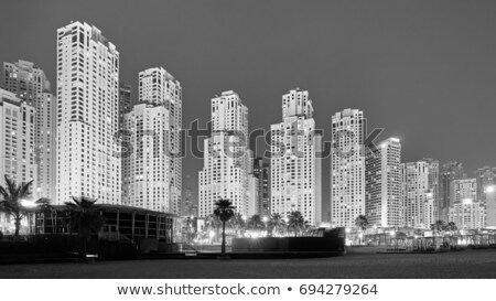Dubai downtown at night, black and white picture Stock photo © Anna_Om