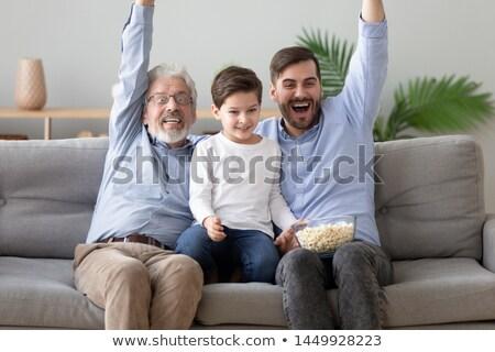 Baba oğul favori futbol takım çocuk saç Stok fotoğraf © photography33