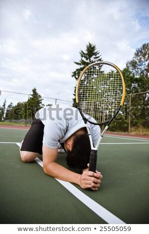 Triest tennisspeler nederlaag shot sport gezondheid Stockfoto © aremafoto