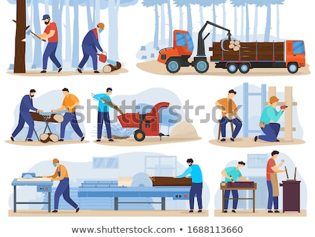 Craftsman with chainsaw cutting wood Stock photo © photography33