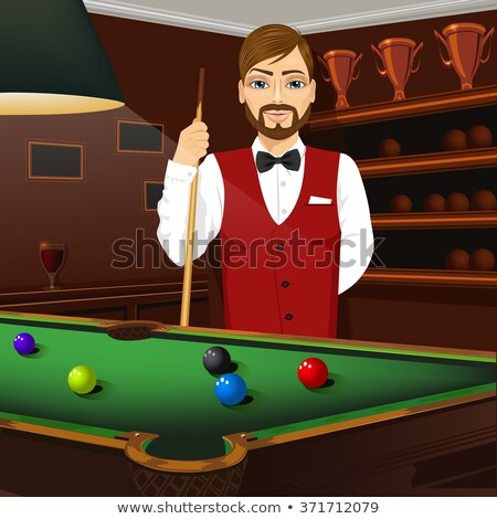 Billiard handsome young man with shirt cue and tie Stock photo © lunamarina