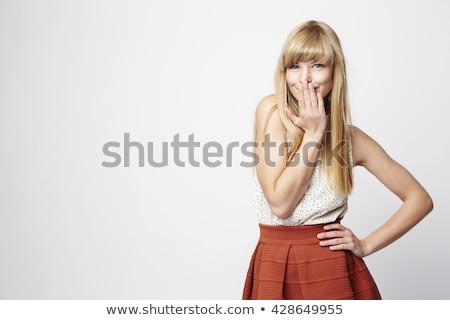 Félénk modell közelkép portré gyönyörű szőke nő Stock fotó © zastavkin