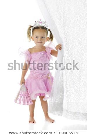 小さな 美少女 ピンク ドレス ファン グレー ストックフォト © utorro