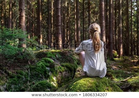 ciszy · portret · młodych · piękna · brunetka · kobieta - zdjęcia stock © zastavkin