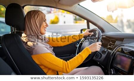 Müslüman orta doğu kadın sürücü peçe Stok fotoğraf © zurijeta