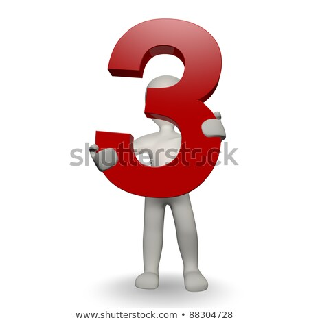 Stock photo: 3D Human character holding number three
