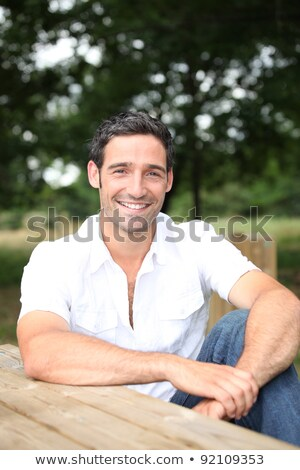 Man picknick bank haren bomen zwarte Stockfoto © photography33