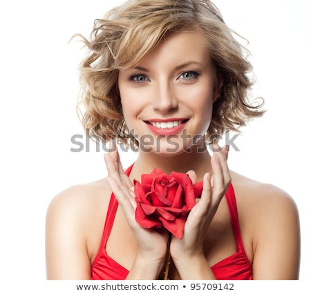 Stok fotoğraf: Mutlu · sarışın · kırmızı · çiçekler · spa · resim · çiçekler