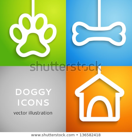 Orange dog and blue dog house stock photo © Grafistart