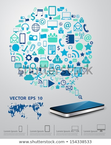 smart phone thinking of apps software thought cloud stock photo © iqoncept