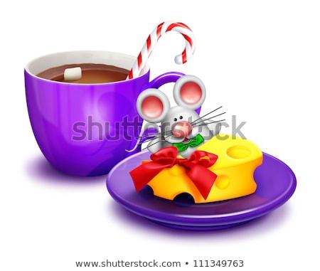 karácsony · egér · sajt · jókedv · tányér · ünnep - stock fotó © komodoempire
