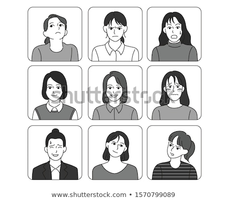 cartoon faces with various expressions stock photo © milsiart