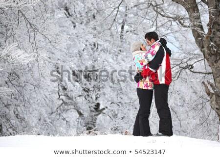 Mutlu çift kadın kar tatil yürümek Stok fotoğraf © photography33
