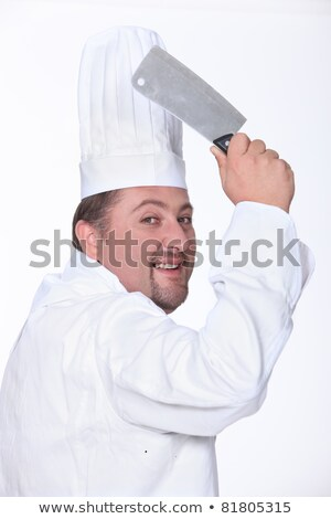 Photo stock: Chef · homme · couteau · blanche · cuisson · studio