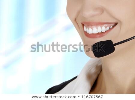 call · center · vrouw · hoofdtelefoon · abstract · gelukkig · werk - stockfoto © nobilior