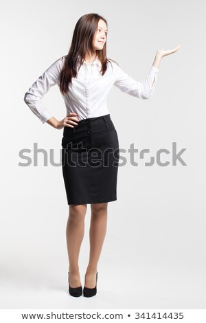 魅力的な · 若い女性 · 黒 · スカート · 白 · シャツ - ストックフォト © acidgrey