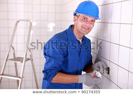 électricien interrupteur de lumière blanche carrelage chambre Photo stock © photography33