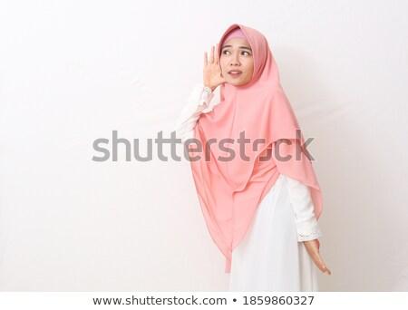 Jonge gelukkig vrouw luisteren voorzichtig exemplaar ruimte Stockfoto © rosipro
