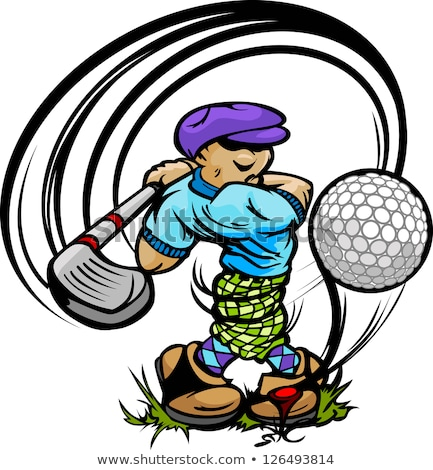 Golfer Cartoon Swinging Golf Club At Ball On Tee Foto stock © ChromaCo