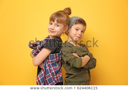 garçon · fille · anges · couple · fond - photo stock © zzve