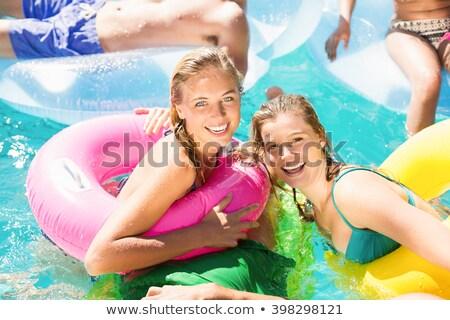 Stockfoto: Portret · prachtig · vrouw · ontspannen · zwembad · water