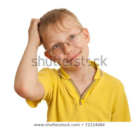 Boy scratches his head in puzzlement or confusion, as if ponderi Stock photo © dacasdo