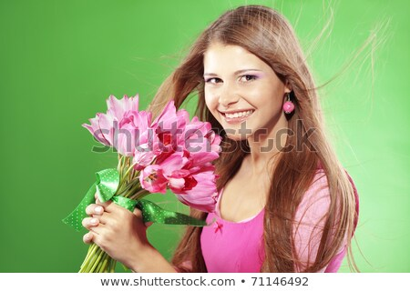 sorridente · adolescente · menina · rosa · tulipas · buquê - foto stock © juniart