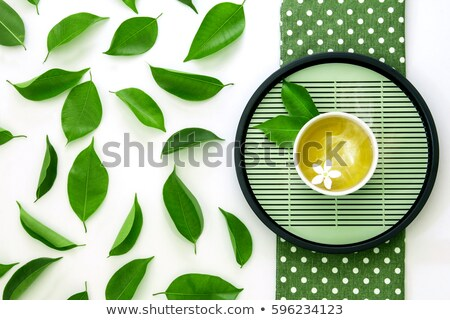 fresco · chá · verde · vidro · pote · horizontal · foto - foto stock © tab62
