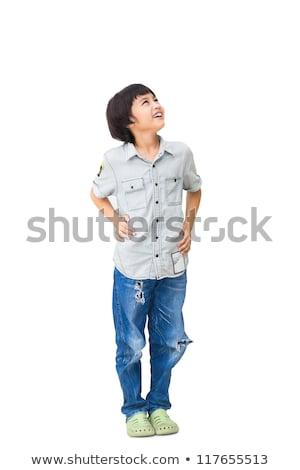 азиатских мальчика глядя Smart серый рубашку Сток-фото © KMWPhotography