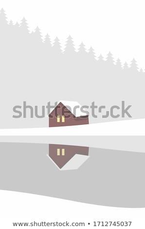 冬 · 家 · 風景 · 画像 · 下がり · 雪 - ストックフォト © krabata