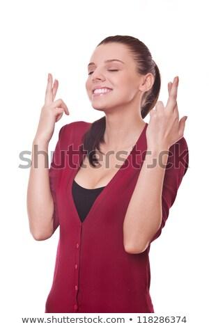 довольно пальцы глядя женщину фон Сток-фото © pablocalvog