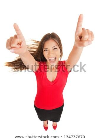 Triumphant woman raising her arms Stock photo © Farina6000