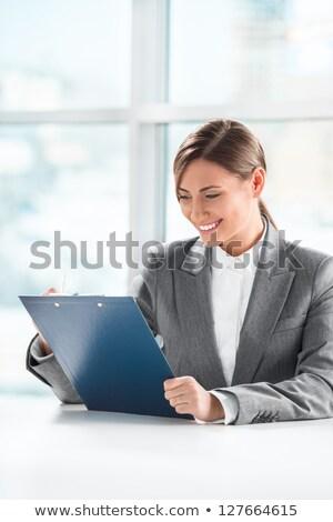フロント · 表示 · ビジネス女性 · 見える · 論文 · クリップボード - ストックフォト © HASLOO