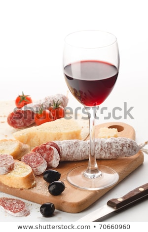 wineglass, dairy product and meat Stock photo © M-studio