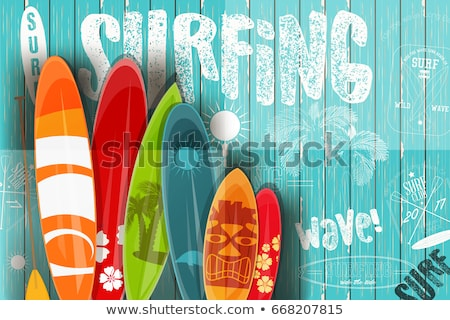 поиск · доска · для · серфинга · пальмами · солнце · спорт · фон - Сток-фото © nicky2342