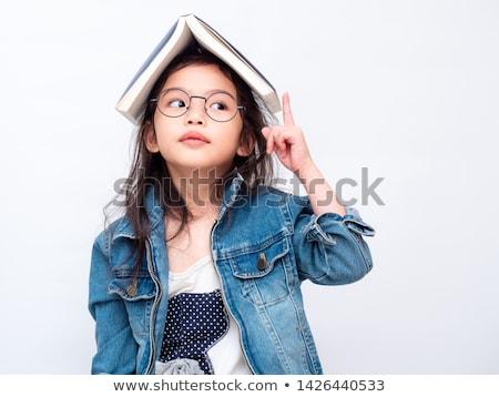 kind · boek · hoofd · geïsoleerd · witte · onderwijs - stockfoto © doupix