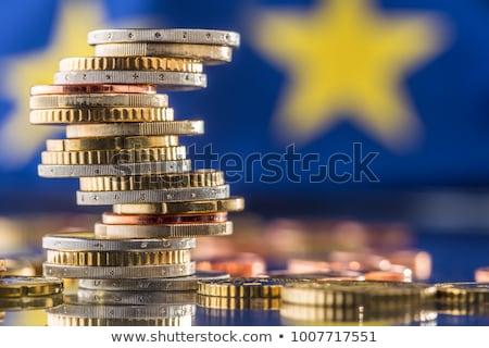 Сток-фото: евро · монеты · европейский · флаг · деньги · синий