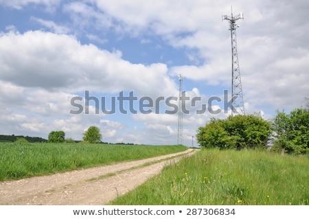 связь · башни · закат · блюд · бизнеса · небе - Сток-фото © silkenphotography